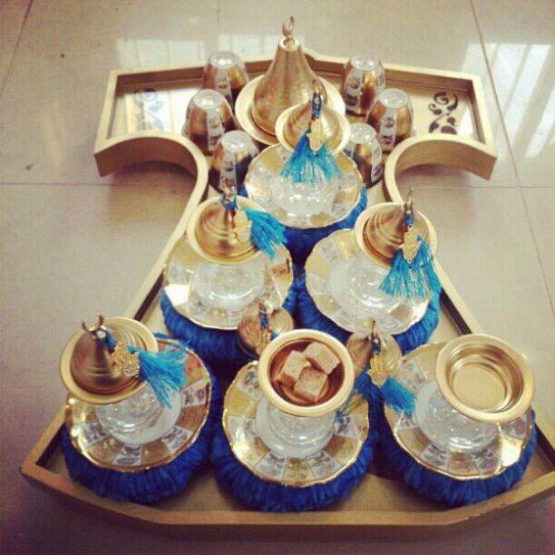 يشعرني هذا الطقم الفاخرالأنيق بمدى فرحة المضيف بضيوفه وترحيبه بهم متمثل في صينية التقديم Ramadan Decorations Arabian Decor How To Make Tea