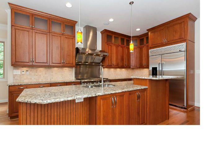 Cherry Kitchen Cabinets With Light Granite With Wood Floors This Is Likely Close To How Our Kitchen Redecorating Cherry Cabinets Kitchen Kitchen Design Small