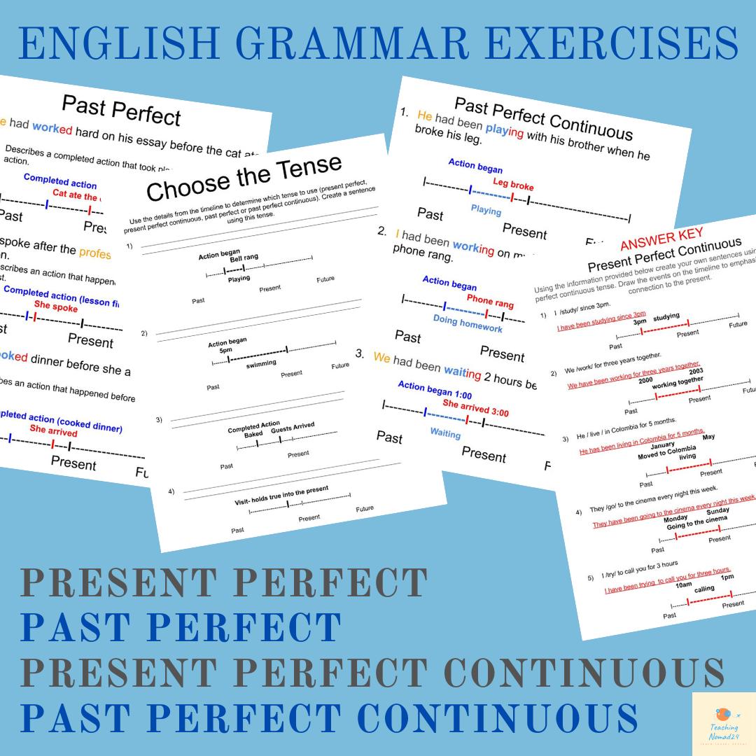 Intermediate Esl Efl Grammar Practice Present Past Perfect Perfect Continuous English Grammar Exercises Grammar Exercises Grammar Practice [ 1080 x 1080 Pixel ]
