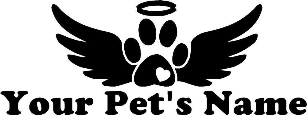 Custom Memorial Pet Text Paw Print Wings - Decal Sticker ...