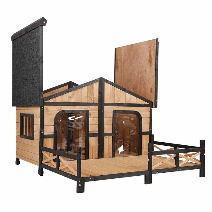 """Tucker Murphy™ Pet Campa Solid Wood Dog House Finish Oak Charcoal Wood House in Gray Black Size 39""""H X 59""""W X 63""""D"""