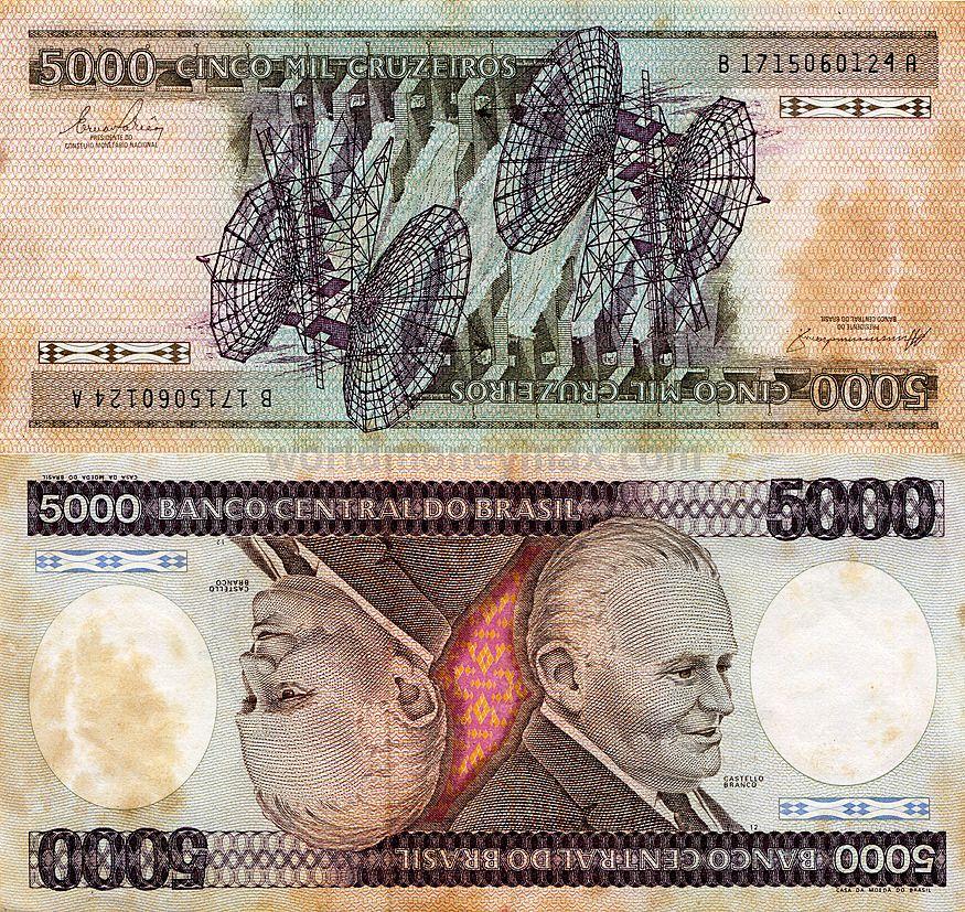 Brazil 5000 Cruzeiro 1984 Banknote Worldmoneymax Com Banco