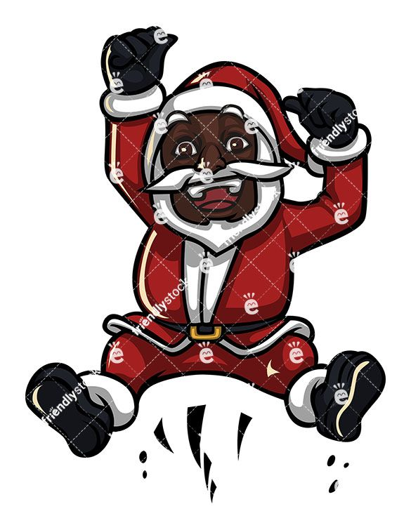 Black Santa Claus Hopping And Cheering Cartoon Clipart Vector Friendlystock Cartoon Clip Art Black Santa Santa Claus
