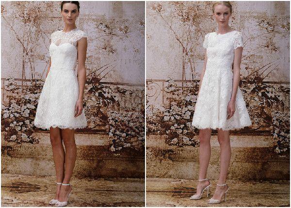Monique Lhuillier kurze Hochzeitskleider 2014 aus Spitze Brautmode 2014 – Designer Hochzeitskleider und Accessories