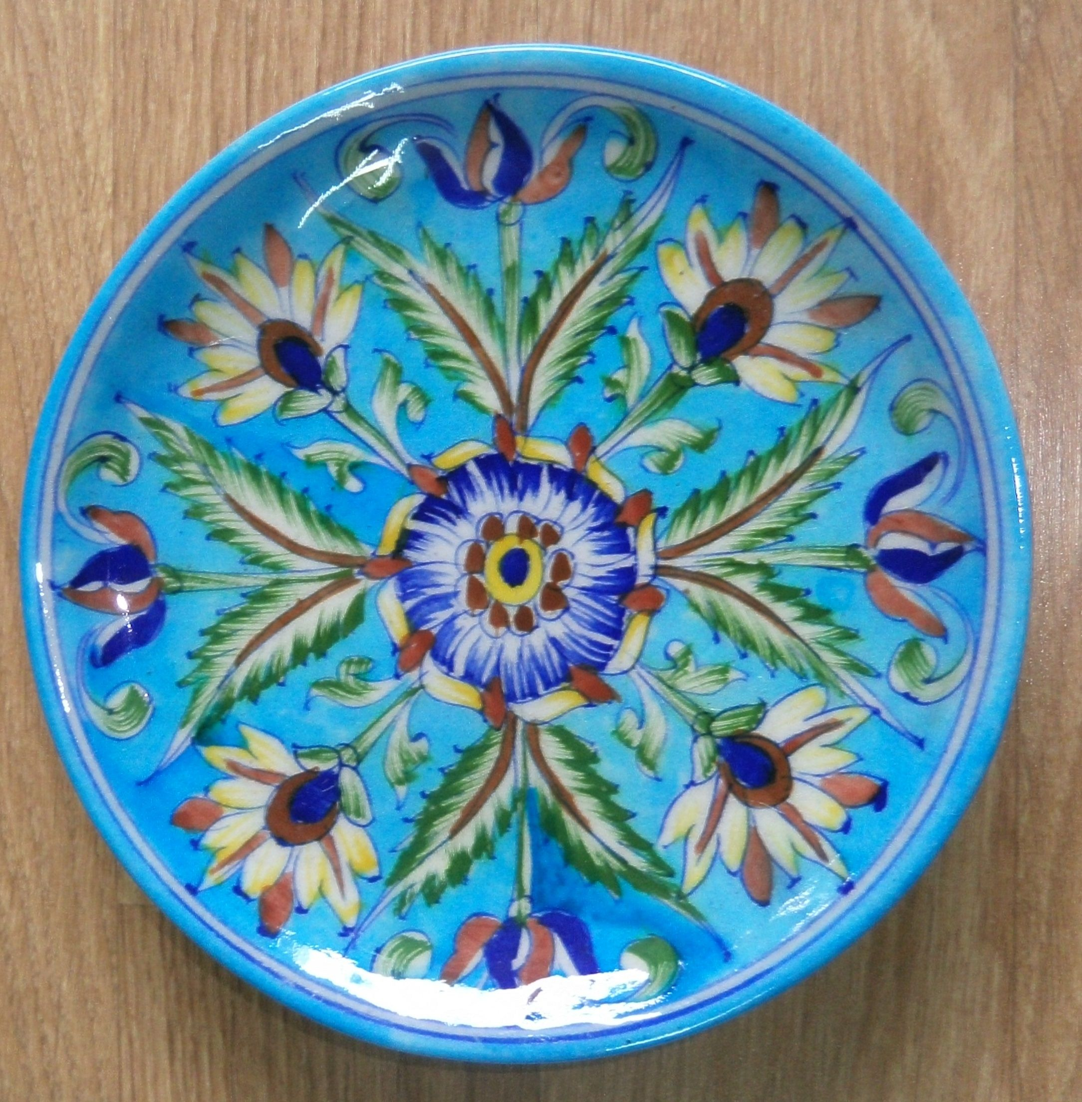 Blue Pottery Dinner Plate 8 In Turquoise Blue Pottery Pottery Decorative Tile