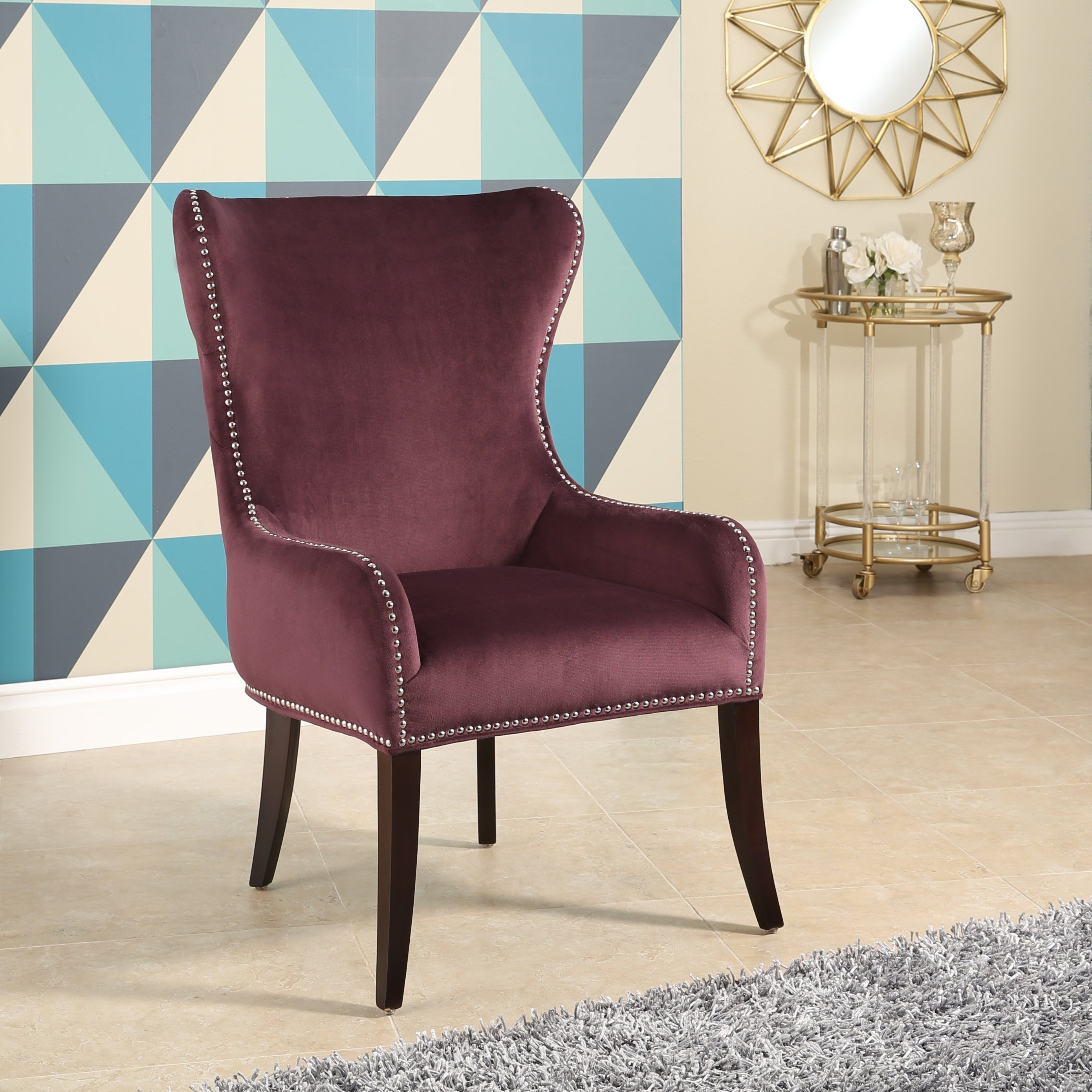 Abbyson Henri Tufted Purple Velvet Chair (Purple)(Fabric