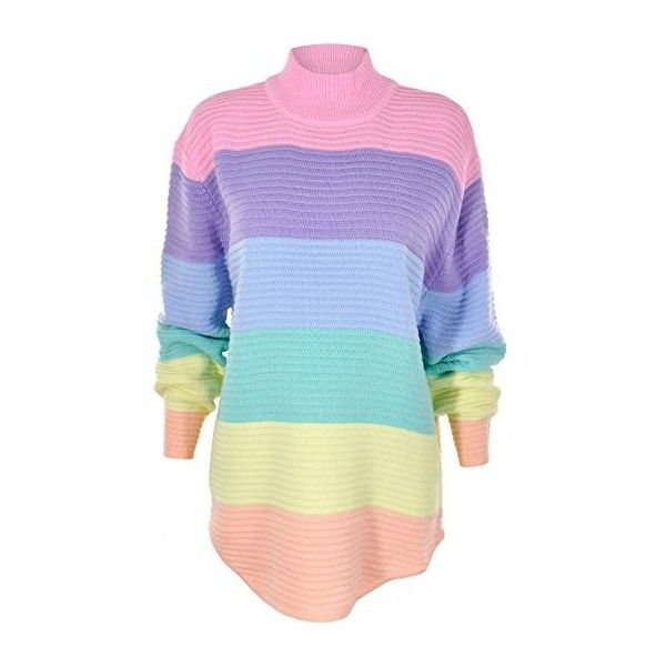 7d49ae9de5a UNIF Frost Pastel Rainbow Turtle Neck Knit Jumper Pink L ... ❤ liked on  Polyvore featuring tops