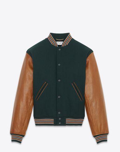 SAINT LAURENT Varsity Jacket In Bottle Green Virgin Wool With Sleeves In Cognac Leather. #saintlaurent #cloth #