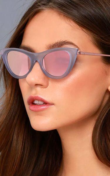 1aaf57185ec4 Le Specs Enchantress Matte Blue and Pink Mirrored Cat-Eye Sunglasses ...