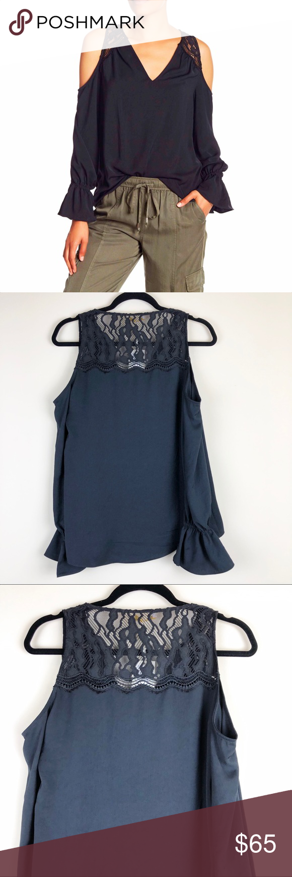 8c3604d05bff5 Ramy Brook Abigail Lace Cold Shoulder Blouse Shoulder and back lace panel  blouse with elasticized cuffs. Pit to pit 18.5 A0170 Ramy Brook Tops Blouses
