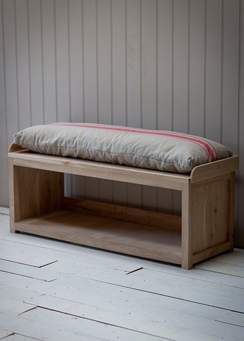 Awesome This Elegant Versatile Raw Oak Storage Bench With Cushion Machost Co Dining Chair Design Ideas Machostcouk