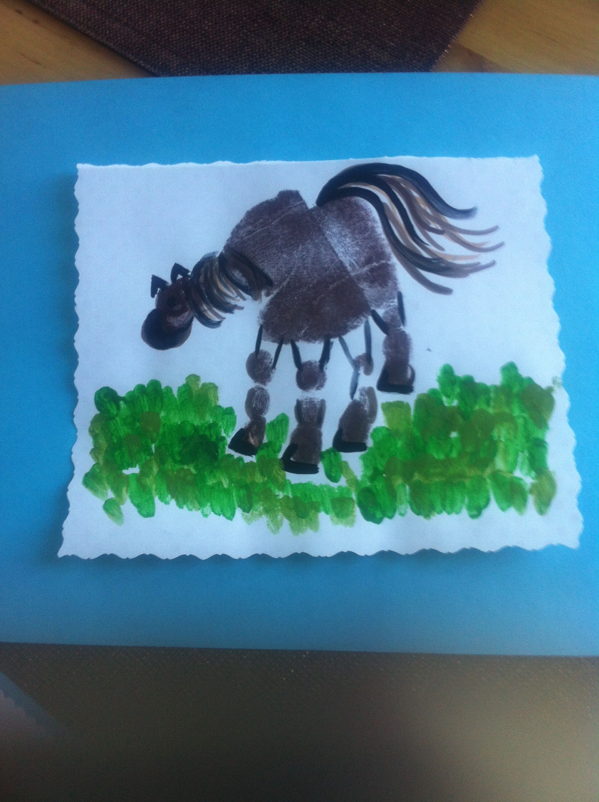 Horse arts and crafts - Horse Handprint For Father S Day Or Grandpa S Birthday Card