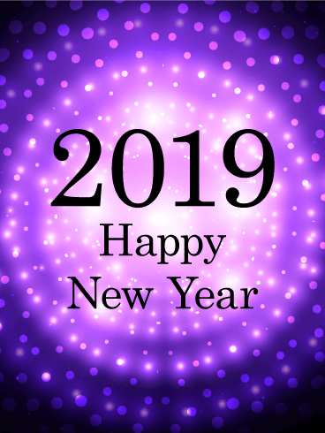 purple glow happy new year card 2019 have a truly groovy new year celebration this year this happy new year card features a black background with bright
