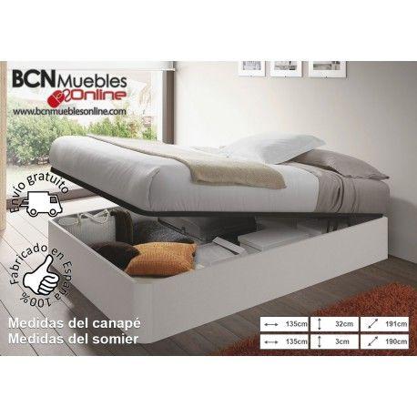 Canapé con somier para cama de 135x190 en BLANCO ALPES o NEGRO MALLA ...