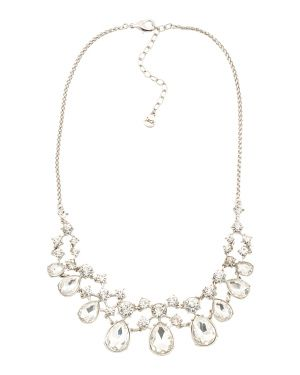 Teardrop Crystal Statement Necklace In Silver Tone