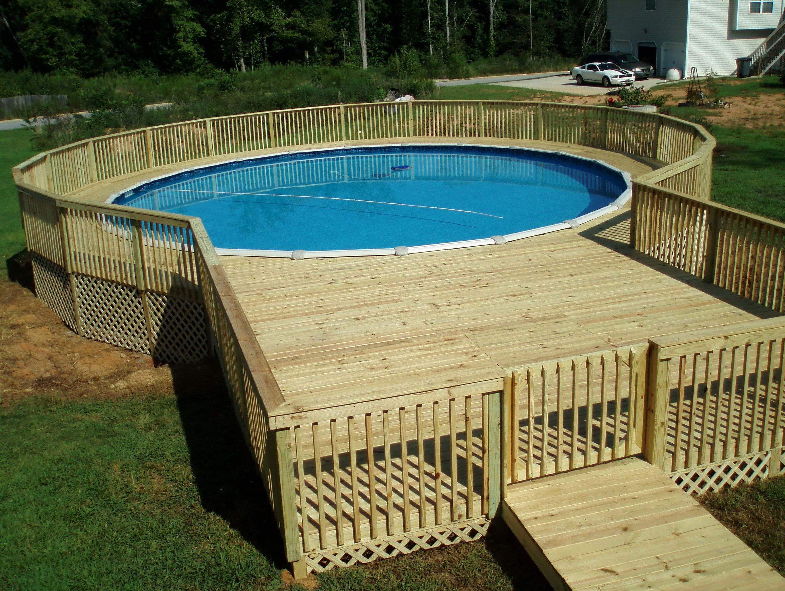 Pool deck plans above ground decks pinterest home for Above ground pond ideas
