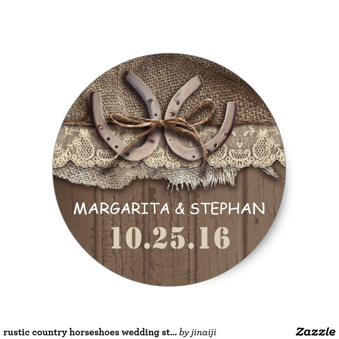 monogram wedding envelope seals sticker%0A Rustic country horseshoes wedding stickers