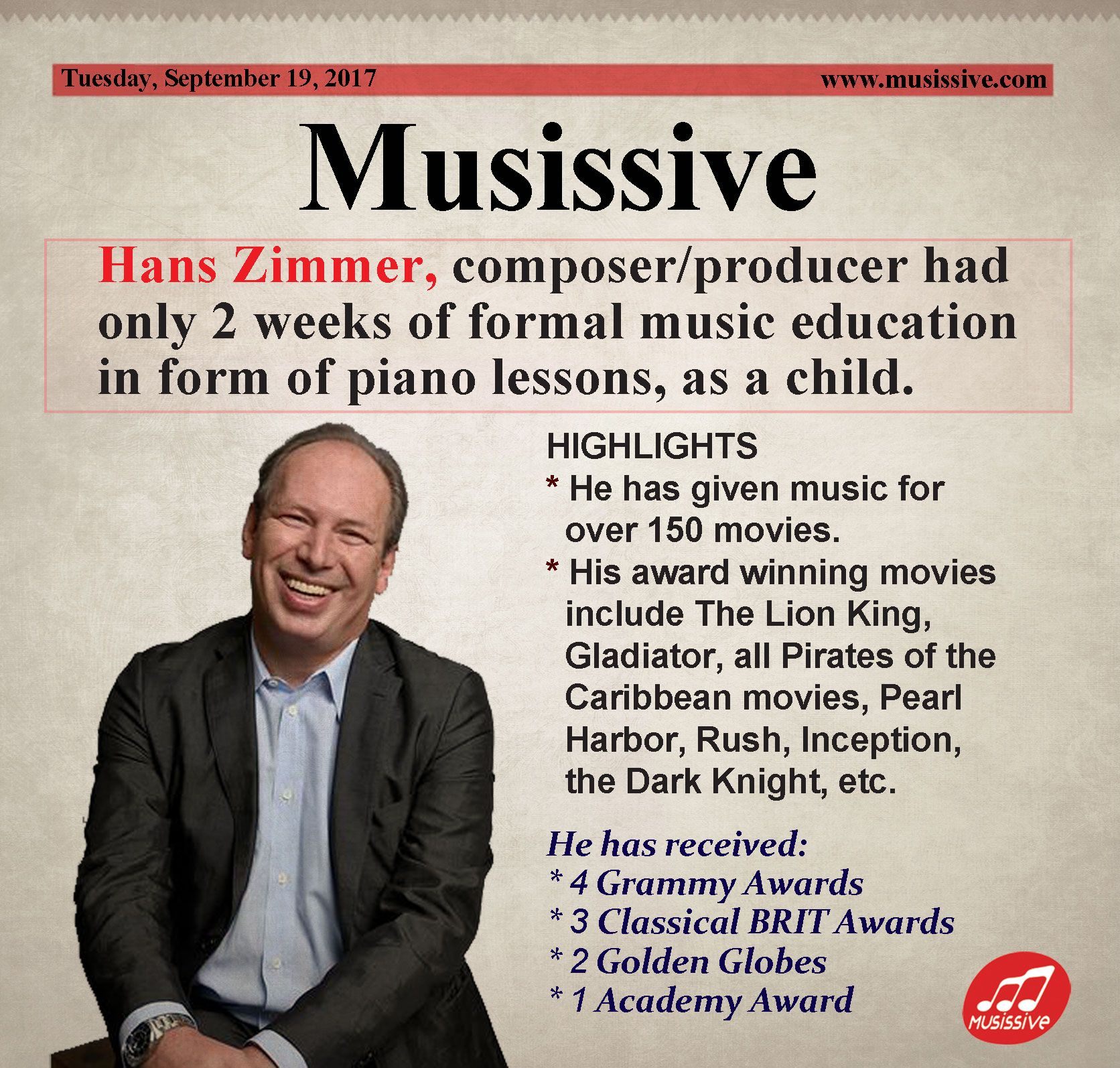 Hans Zimmer Composer Producer Had Only 2 Weeks Of Formal Music Education In Form Of Piano Lessons As A Child U Piano Lessons Teaching Music Music Education