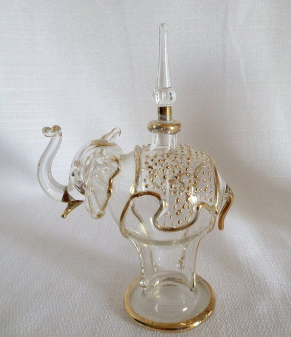 f324c51d Elephant Perfume Bottle with Dauber Clear & Gold Egyptian Blown Glass  Stopper