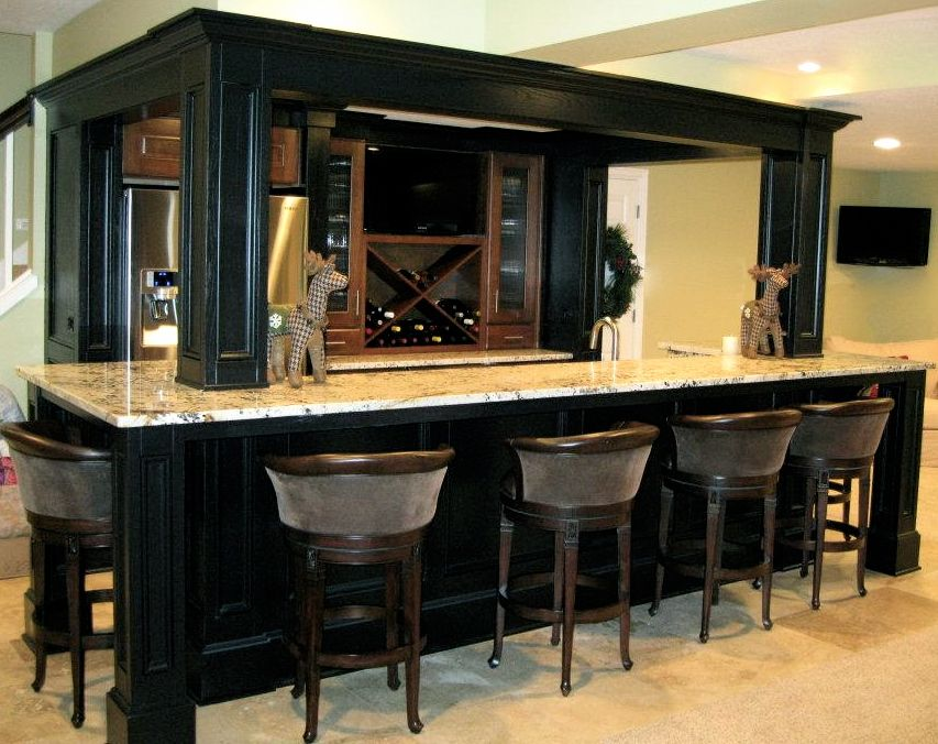 Lowe S Cabinet Ideas Bar Basement: Black Oak And Dark Cherry