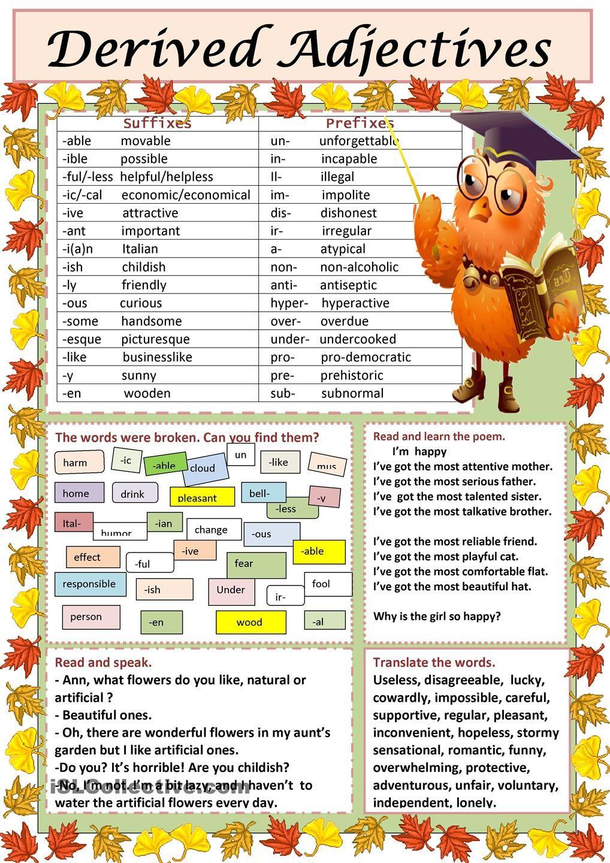 Workbooks sex education worksheets : Derived Adjectives | teaching English | Pinterest | English ...