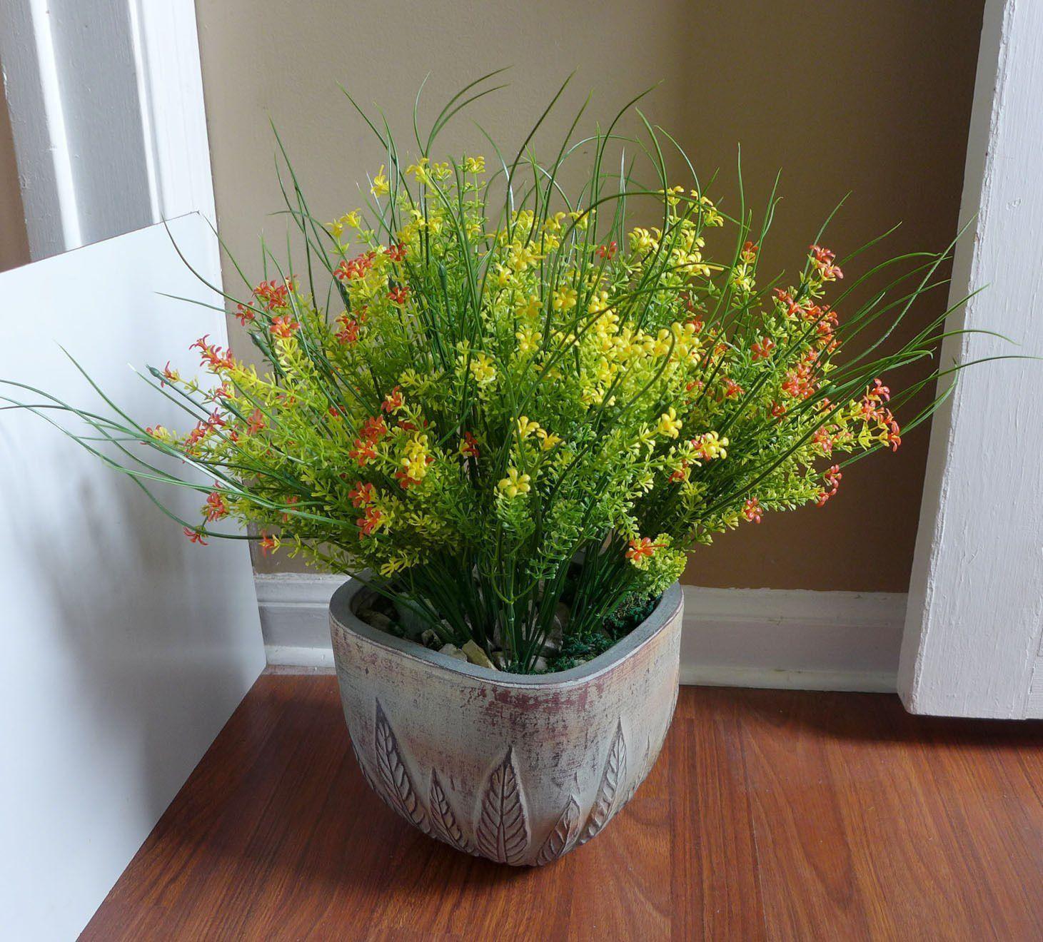 Artificial plants for kitchen - Artificial Plants Bunches Flower Yellow Red Grass Bushes Plastic Landscape Miniature Succulents For Decoration Office Kitchen