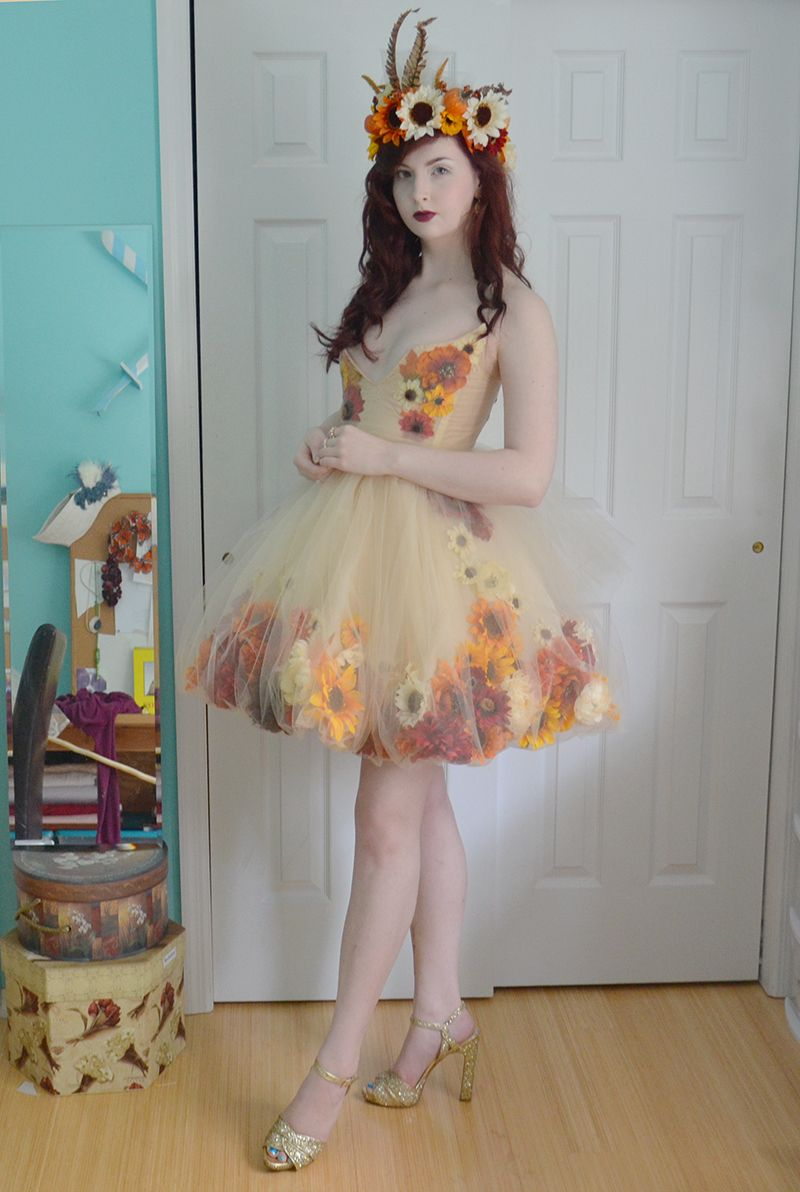 "The finished ""Fall Flower Fairy"" dress and crown. I like ..."