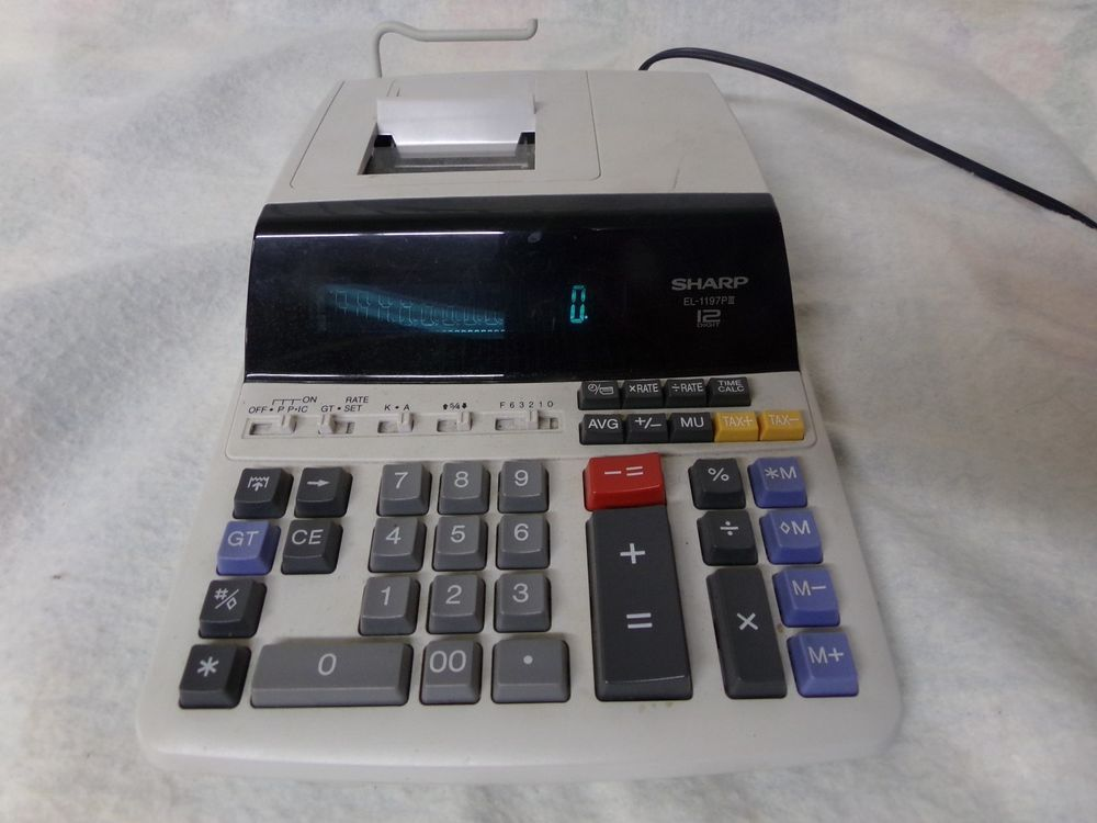 Sharp EL-1197PIII Heavy Duty Color Printing Calculator Clock