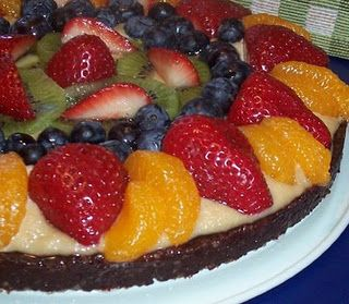 Fresh Fruit on Fudge Cake (raw)