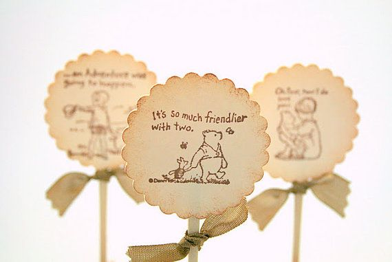 Vintage Winnie the Pooh cupcake toppers available on Etsy.