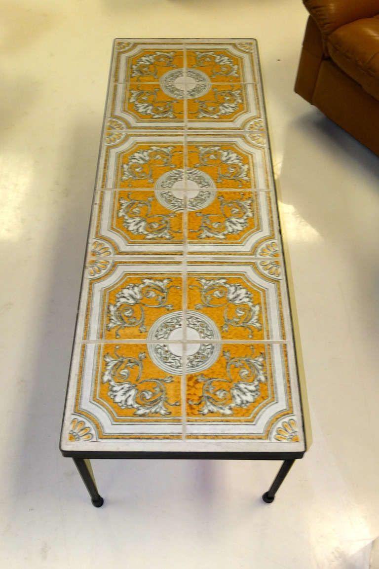 Ceramic tile topped iron frame cocktail table ceramic