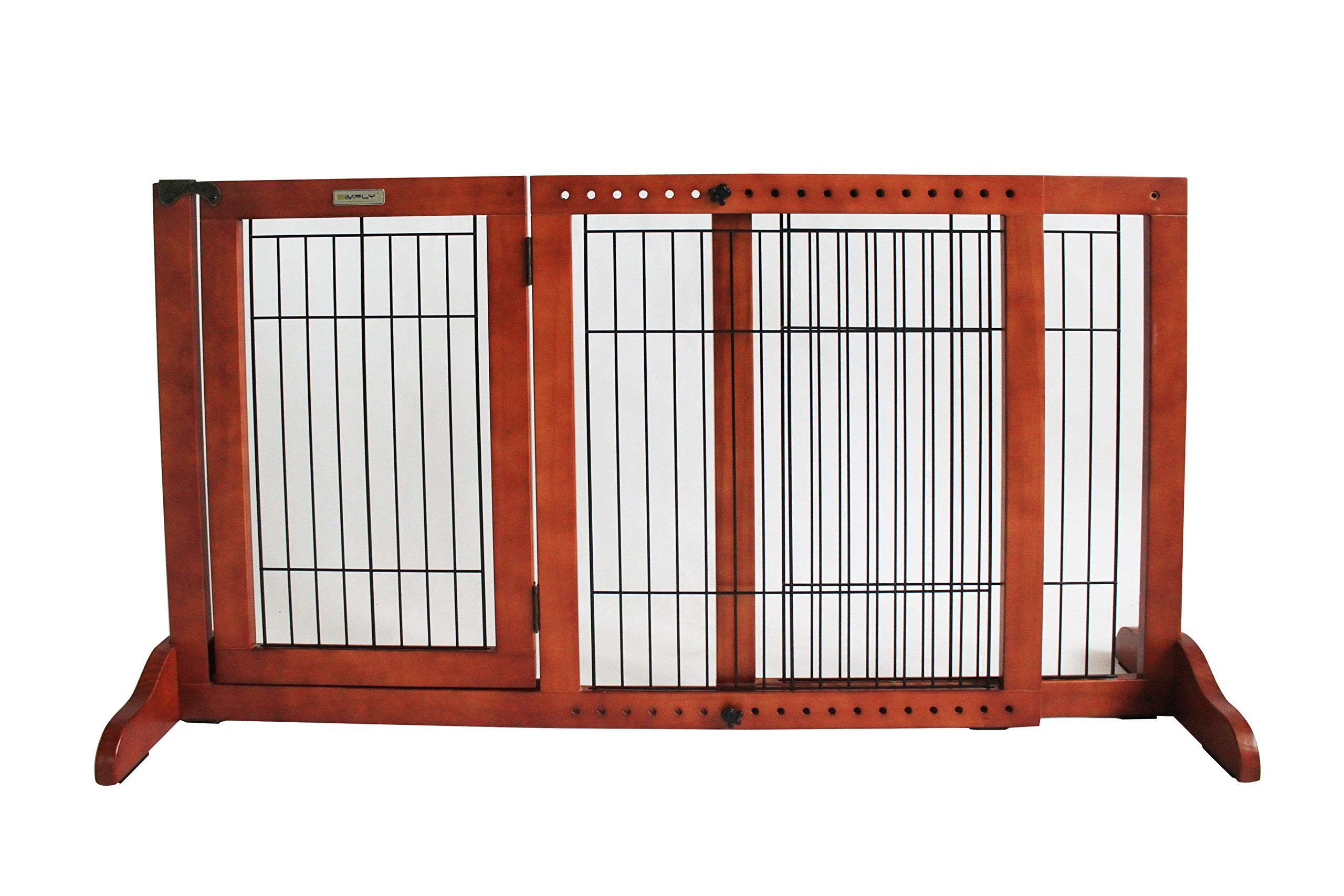 Simply Plus Wooden Pet Gate Freestanding Pet Dog Gate For Indoor Home And Office Use Keeps Pets Safe Easy Set Up No Tools In 2020 Wooden Pet Gate Pet Gate Dog Gate