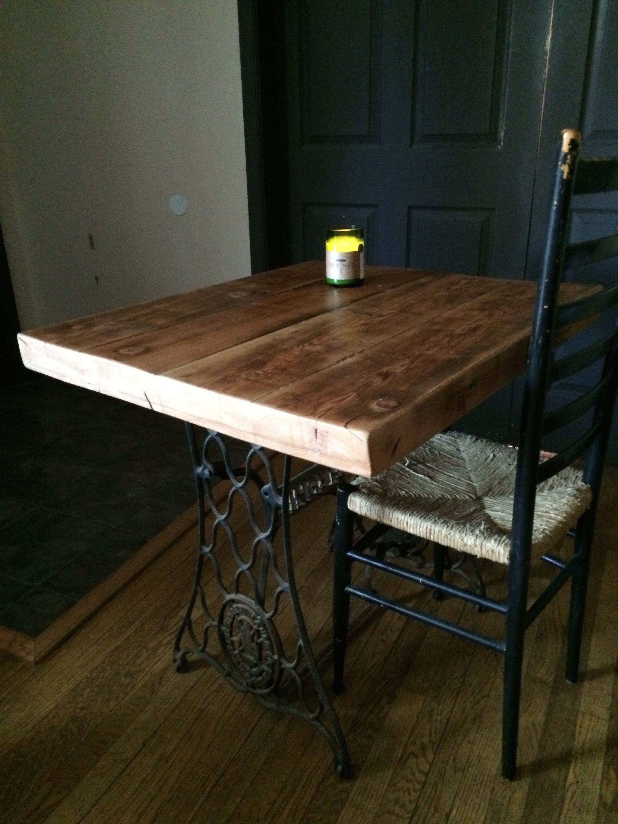 Yellow Pine Reclaimed Floor Joist Top From Wood In Baltimore City And A 1910 Singer Sewing Machine Base