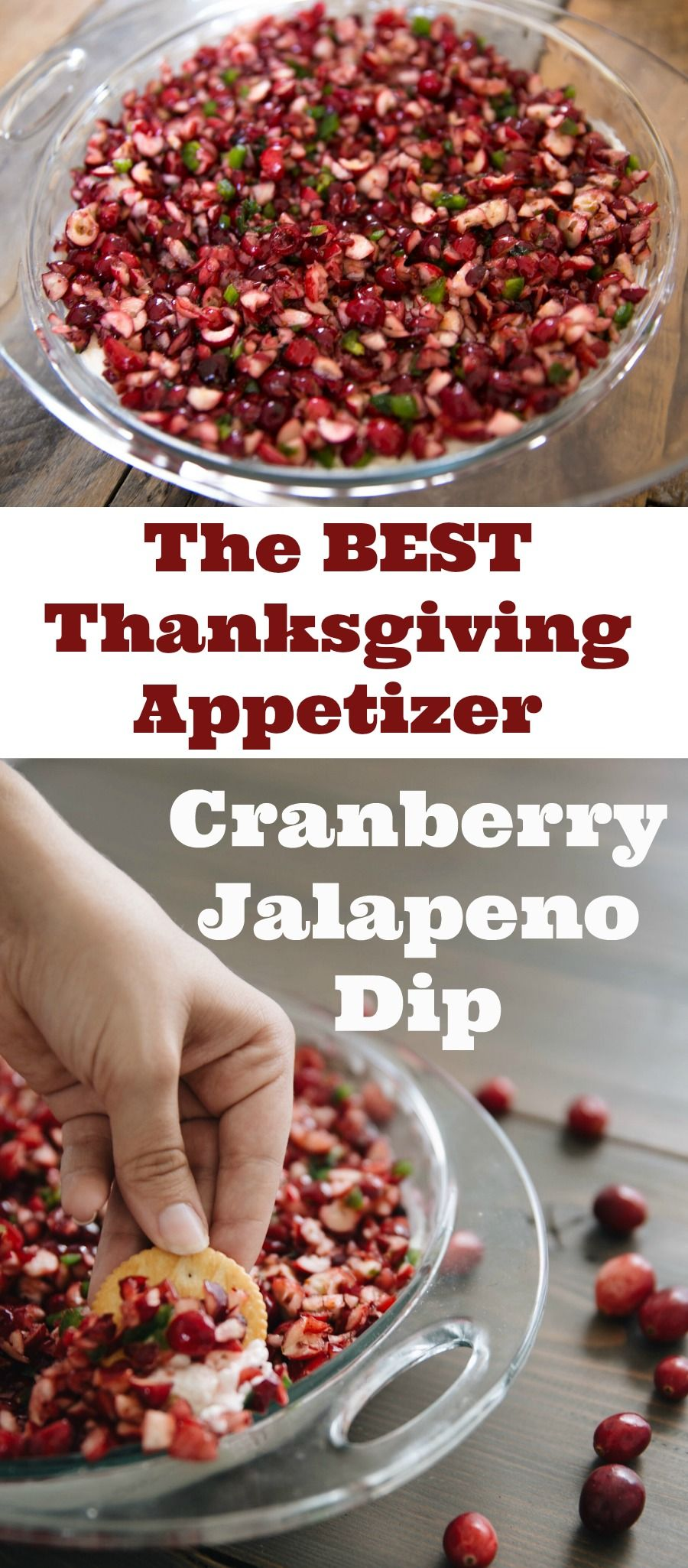 Everyone who eats this dip asks for the recipe. It's one of the best appetizers I've had in a long time - cranberry, jalapeno, cream cheese, green onion all make for a spicy, tangy and sweet meal. This is perfect for Thanksgiving and Christmas and the holidays are right around the corner! Try this Cranberry Jalapeno Dip - I promise you'll be addicted! #thanksgivingappetizersideas
