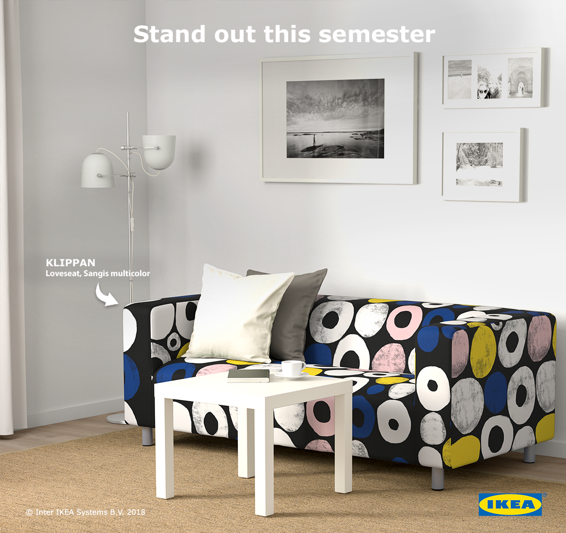 Bring Out Your Style With Bold Colors And Shapes Match Kilippan Loveseat With Minimal Tones In Your Living Spa Dorm Room Furniture Ikea Sofa Ikea Klippan Sofa