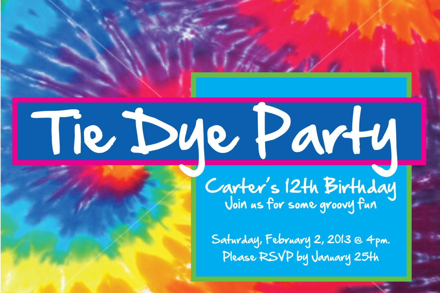 tie dye party invitation tie dye birthday party invite tiedye
