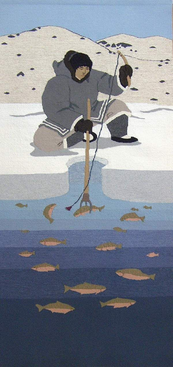 Uqqurmiut: About the Pangnirtung Tapestry Studio  #tapestry #weaving .....Kakivak Fishing 2008 Andrew Qappik/Igah Etuangat