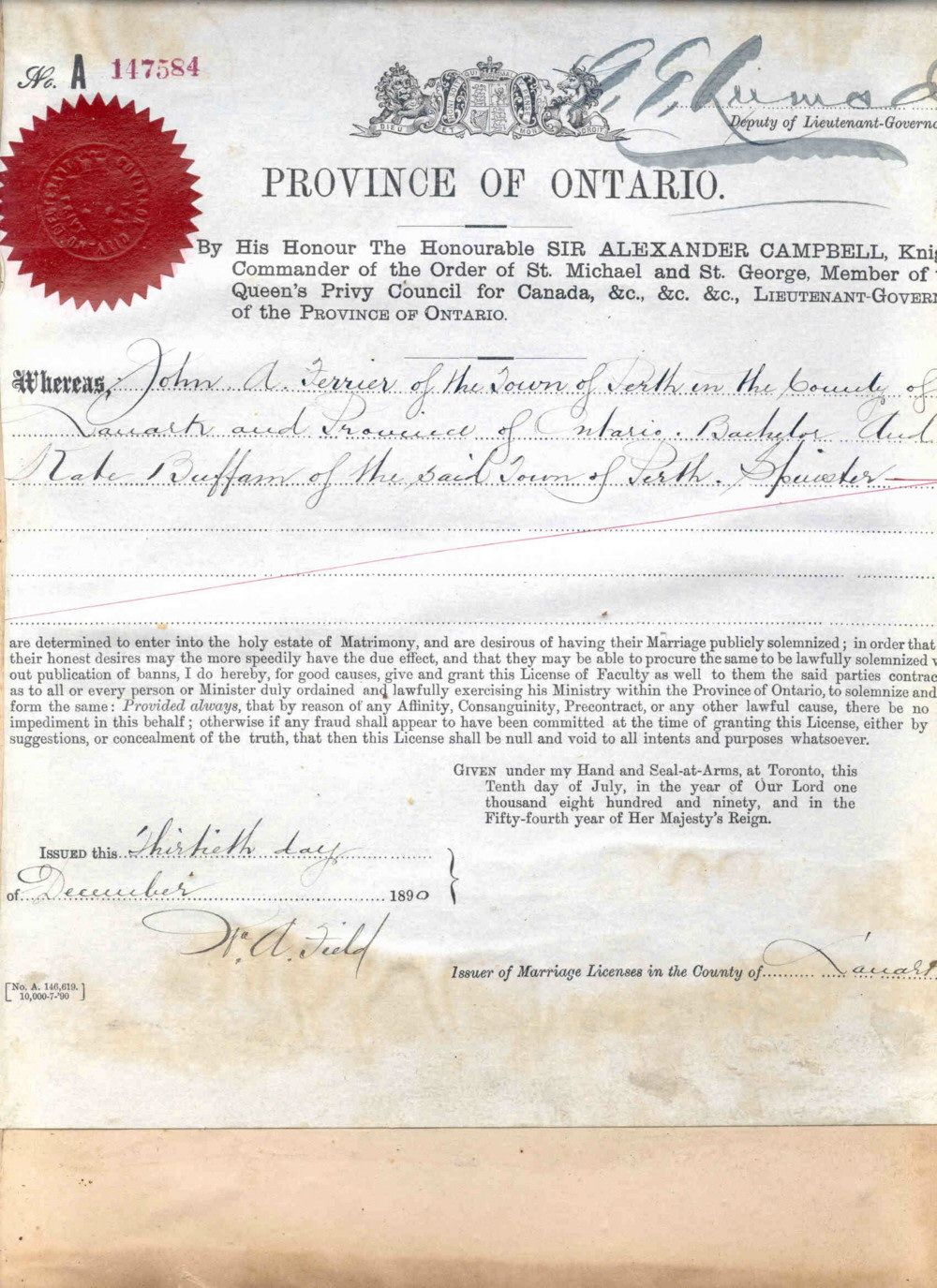 Marriage Certificate For John Alexander Ferrier And Catherine Buffam