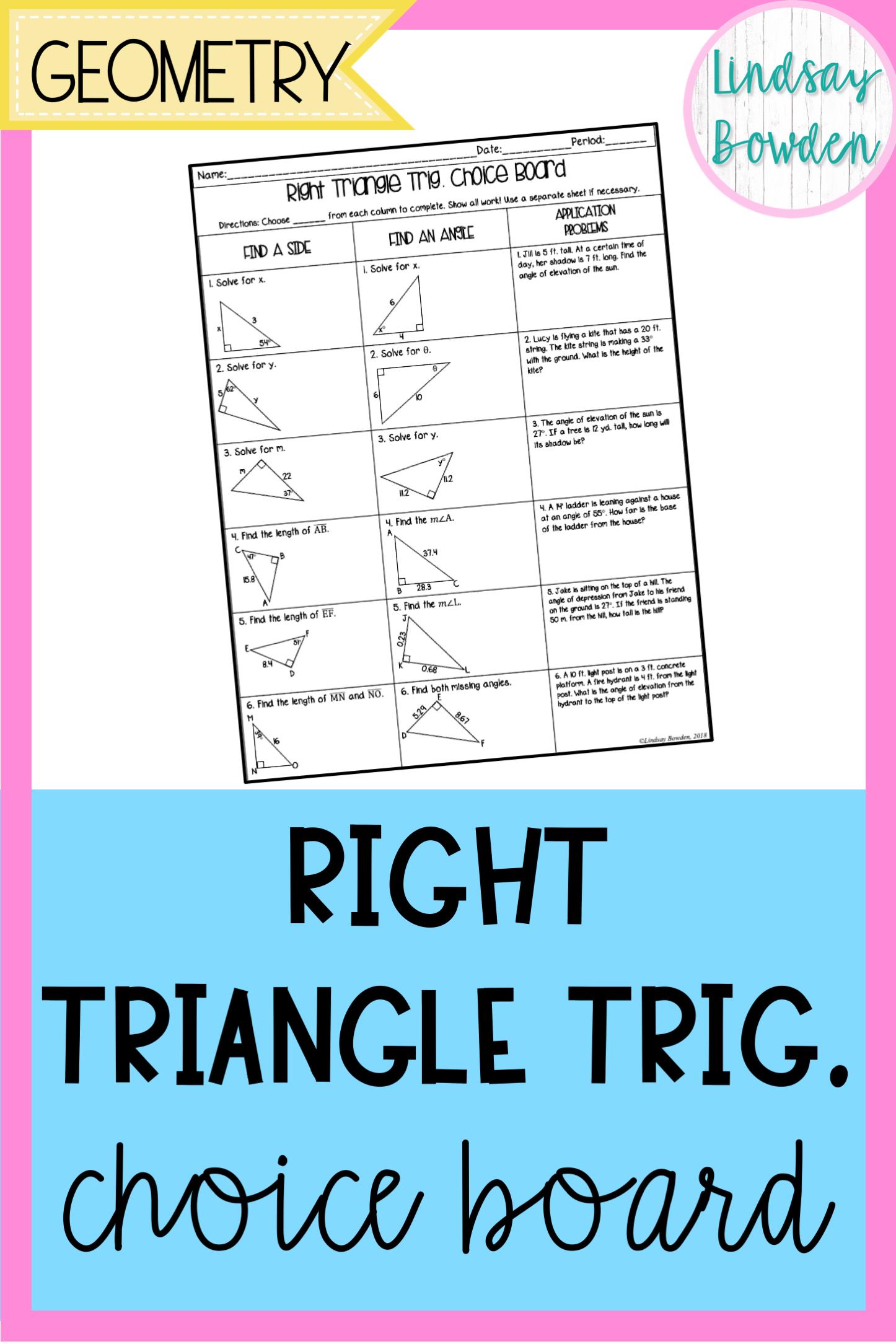 Right Triangle Trigonometry Choice Board Secondary math