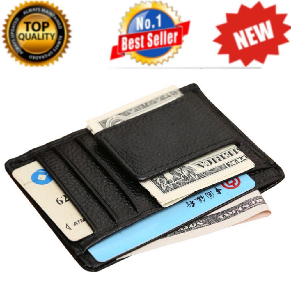 Genuine leather Money Clip ID Credit Card Case Holder Slim Wallet Front Pocket