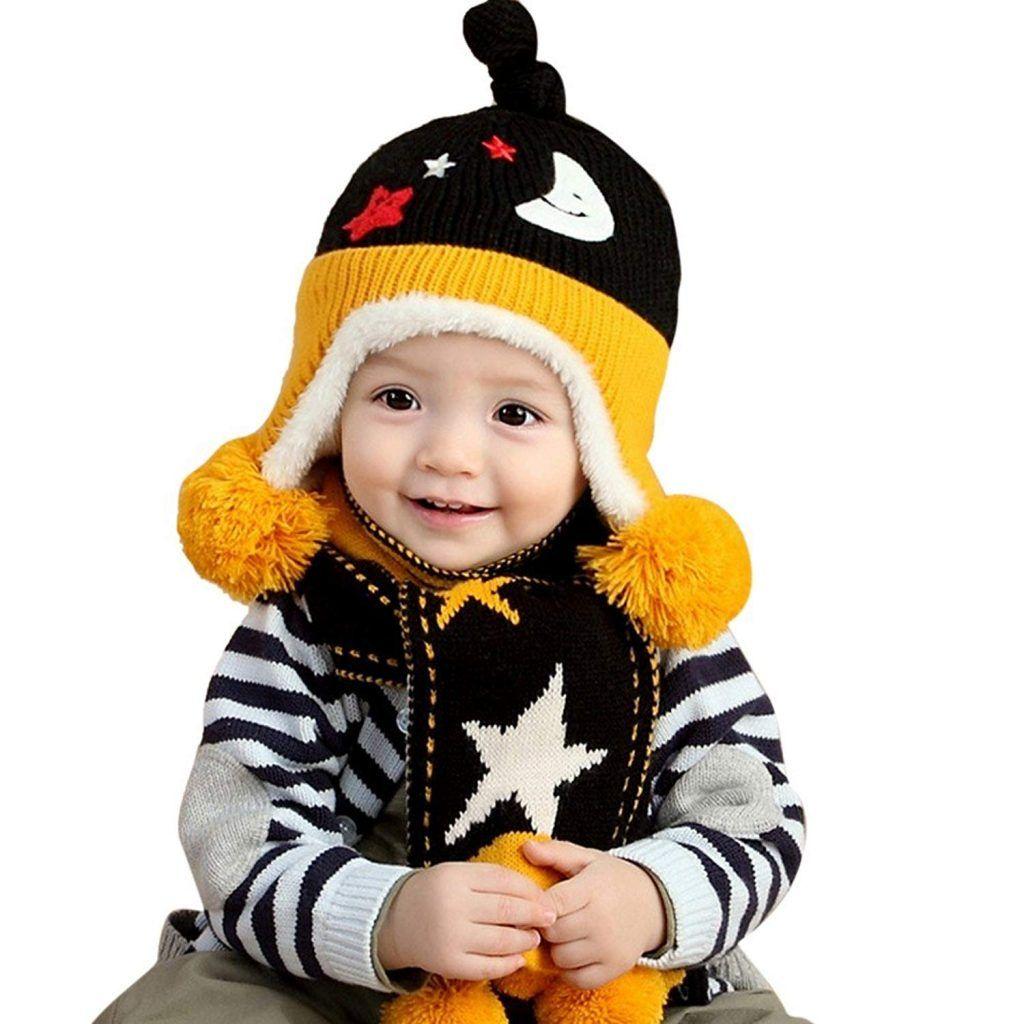 076e92940acab PanDaDa Baby Girls Boys Hats Winter Warm Cap Hat Beanie Pilot Aviator  Crochet Earflap