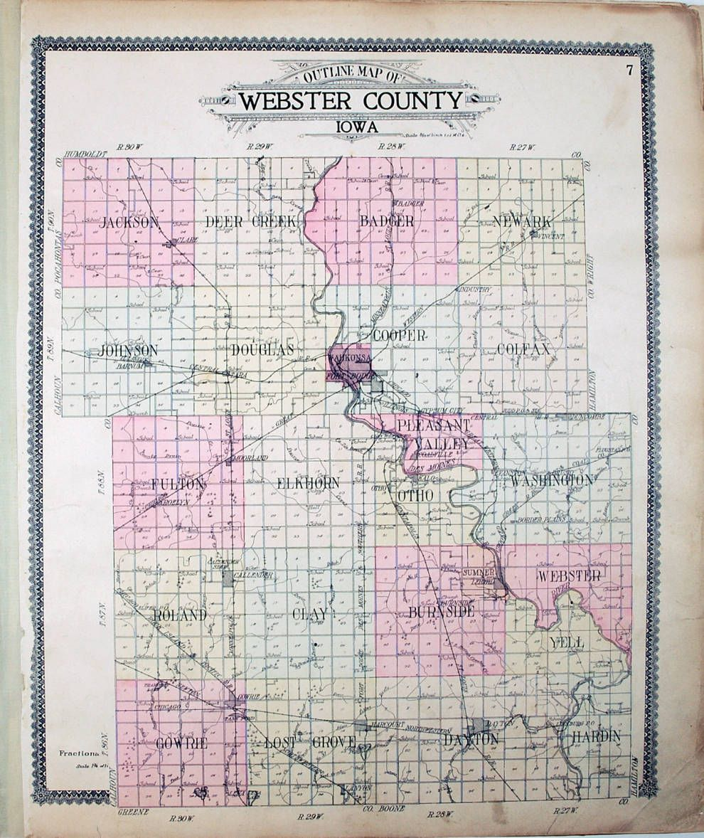Outline Map Of Webster County Iowa Webster County Iowa Map