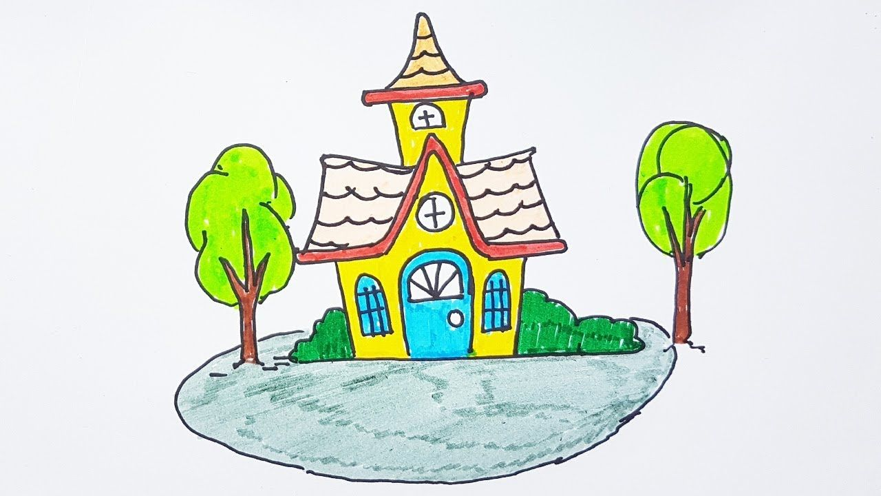How to Draw a House and Color for kids | Drawing House and Tree Color Le...