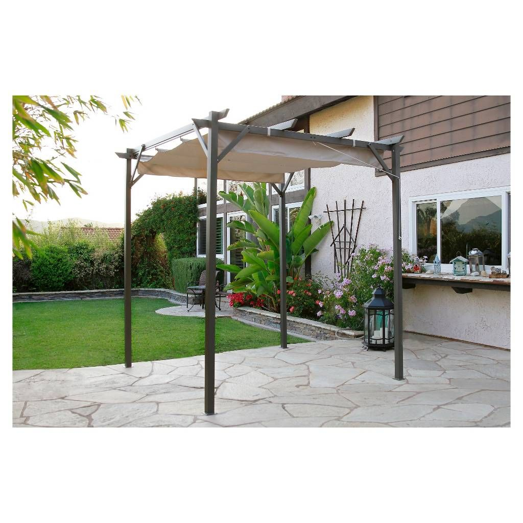 Pacific Casual 8\' x 8\' Steel Pergola with Retractable Top. Image 1 ...