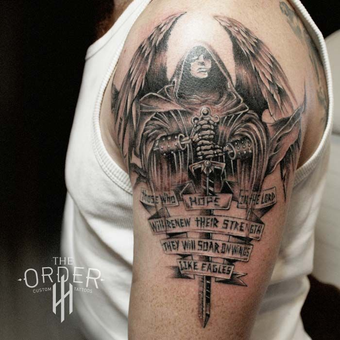isaiah war angel tattoo the order custom tattoos ForWarrior Bible Verse Tattoos