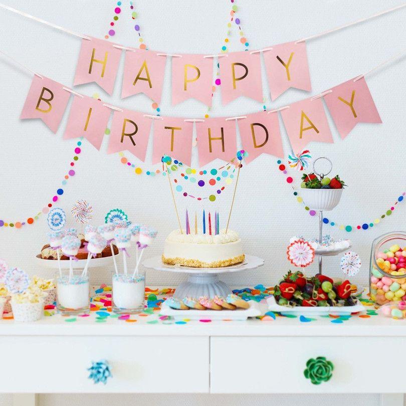 Happy Birthday Streamers  Kinder Geburtstag Banner Girlande Happy Birthday Party