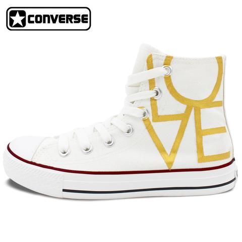 Converse Chuck Taylor Love Heart Original Design Women Men Sneakers Custom High Top Canvas Wedding Shoes Man Woman