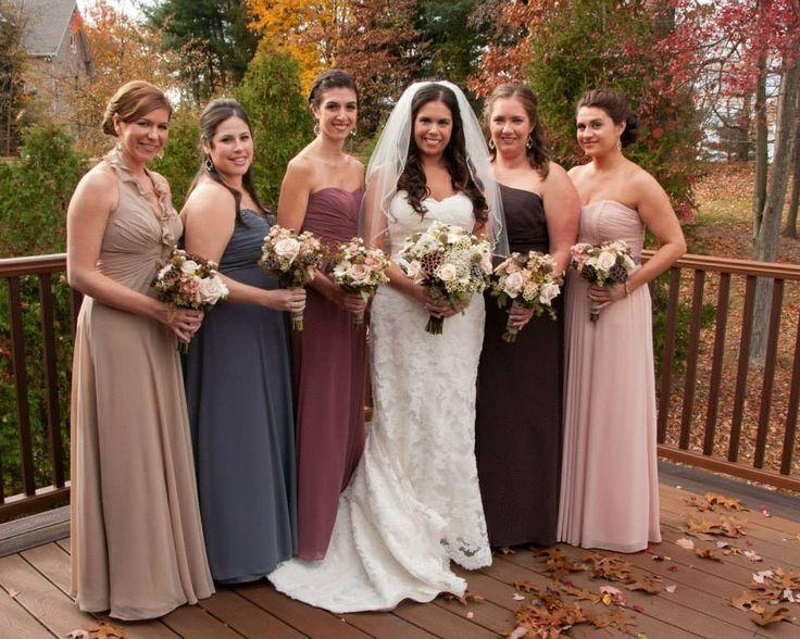 Wedding bridesmaid different dresses same color