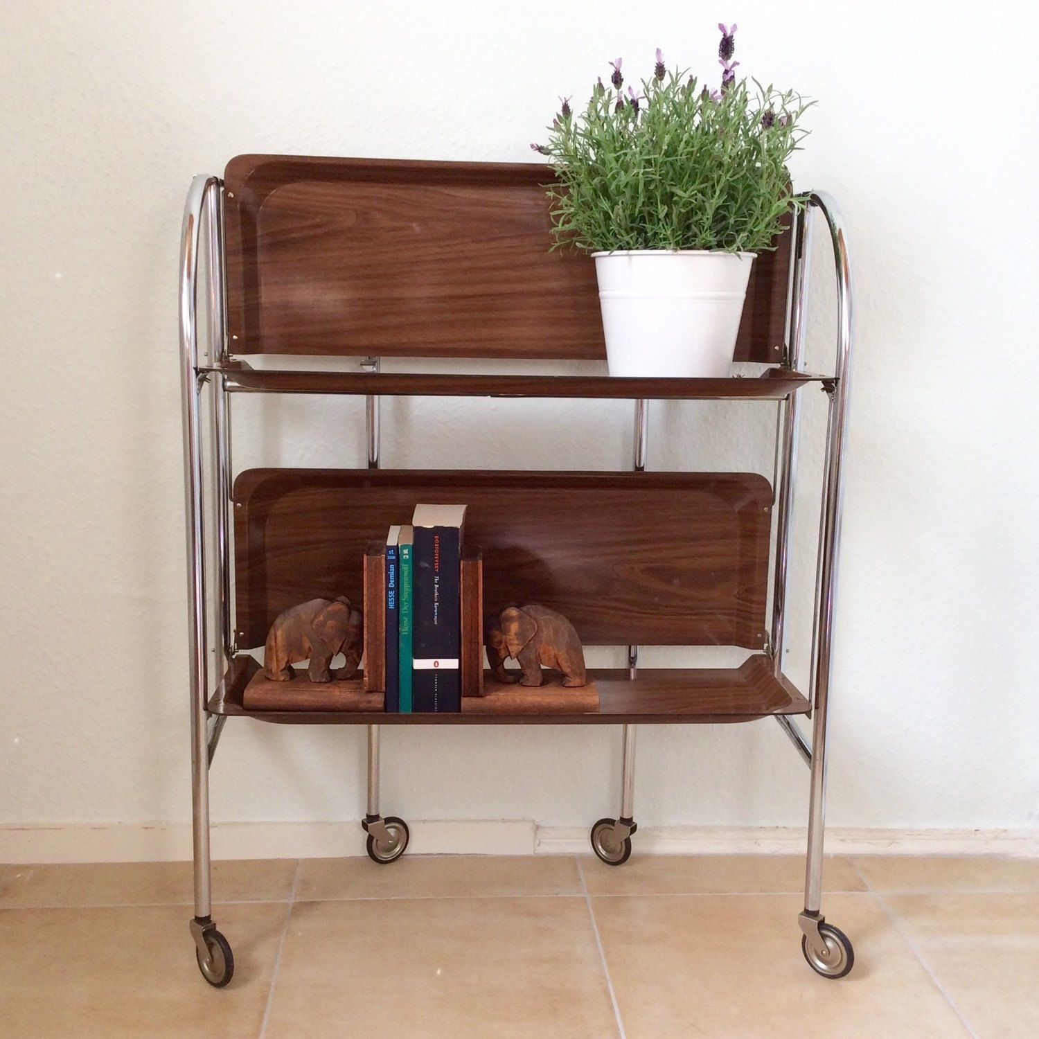 Vintage Serving Cart Trolly Bar Cart Chrome Wood Foldable Wheels Bar Cart  60s Mid Centurywheeled Serving Table Dinett