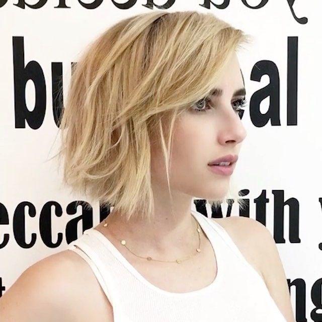 Emma Roberts Short Hair Textured Bob Blonde Instagram Emma Roberts Hair Bob Hairstyles Bobs Haircuts